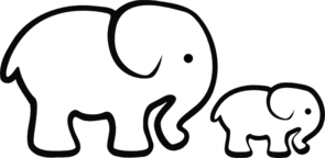 White Elephant Mom & Baby Clip Art
