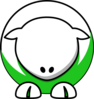 Sheep - White On Green No Eyeballs No Sockets Clip Art