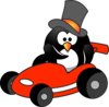 Penguin In Sportscar Clip Art
