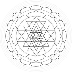 Shri Yantra - Black And White Round Clip Art