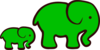 Green Elephant Mom & Baby Clip Art