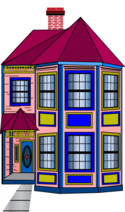 Colorful Townhome Clip Art
