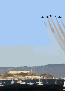 Navy Blue Angels Fly In Formation In Front Of Alcatraz, During San Francisco Fleet Week 2003. Clip Art