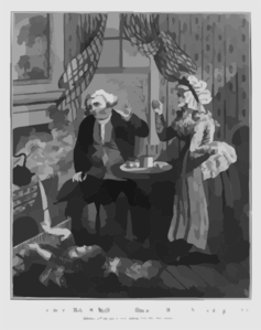 The Comforts Of Matrimony - A Smoky House And Scolding Wife Clip Art
