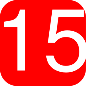 Red, Rounded, Square With Number 15 Clip Art
