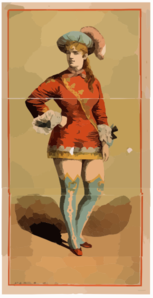 [chorus Girl In Short Red Costume And Blue Stockings] Clip Art
