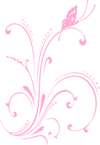 Bubblegum Butterfly Scroll Clip Art