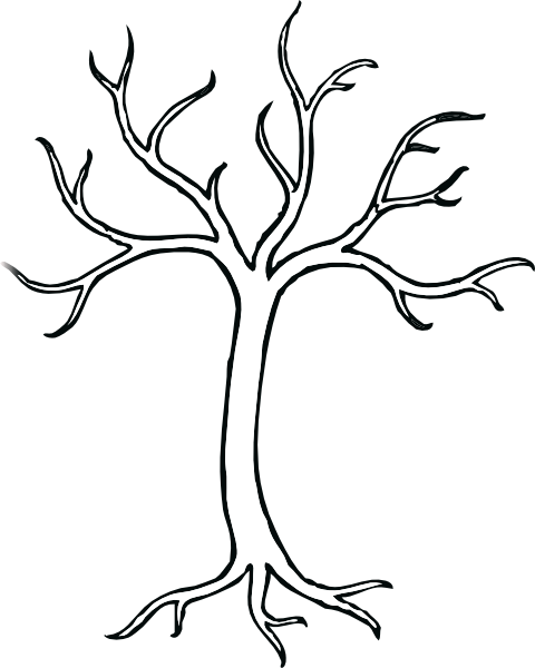 Coloring Bare Tree Clip Art At Clker Com Vector Clip Art Coloring Pages Of Trees Without Leaves