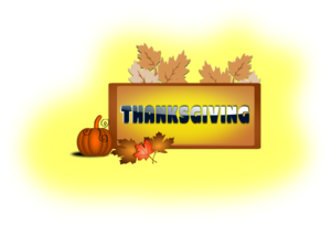 Thanksgiving With Pumpkin & Leaves Clip Art