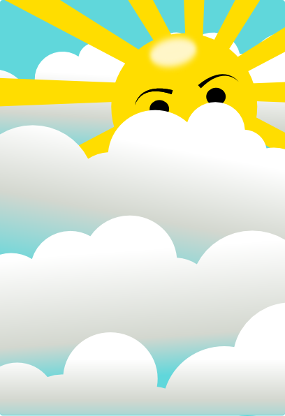 cartoon sun and clouds. Clouds With Hidden Sun
