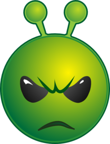 Smiley Green Alien Unhappy No Shadow Clip Art