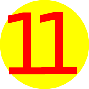Yellow, round, with number 11 clip art