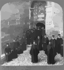 Pious Monks Of The Eastern Orthodox Church At Door Of Monastery, Megaspelaeon, Greece Clip Art