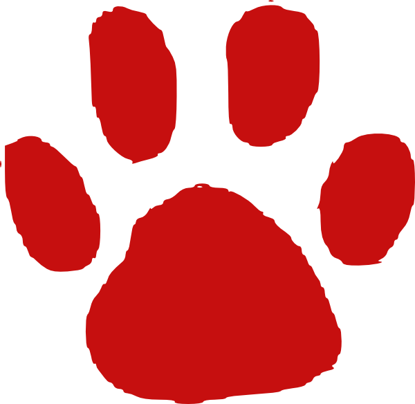 Paw print red. Clip art at clker