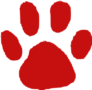 Red Paw Print Clip Art