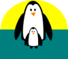 Penguin Mom And Baby Clip Art