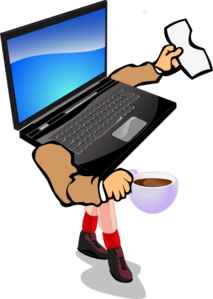 Laptop With Coffee, Hands & Legs Clip Art