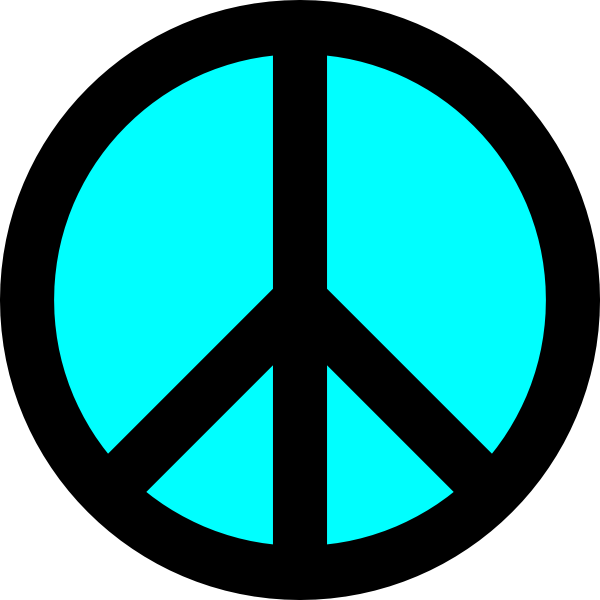 Black And Turquoise Peace Symbol Clip Art At Clker Vector Clip