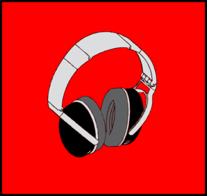 Headphones Red Background Clip Art