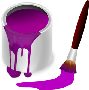 Purple Paint With Paint Brush Clip Art