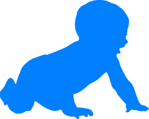 Baby Silhouette Blue Clip Art