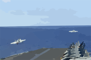 Two F/a-18e Super Hornets Assigned To The Tophatters Of Strike Fighter Squadron Fourteen (vfa-14) Launch From The Flight Deck Of Uss Nimitz (cvn 68) Clip Art
