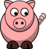 Pig Looking Right-down Clip Art