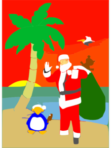 Beached Santa Clip Art