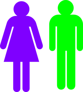 Boy And Girl Stick Figure - Green Purple Clip Art