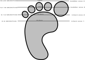 Baby Shoe Size Guide Clip Art