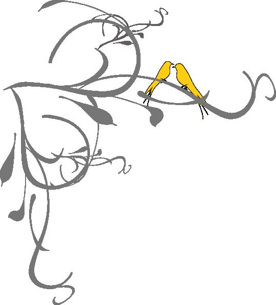 Birds On A Branch Yellow Clip Art At Clker Com Vector