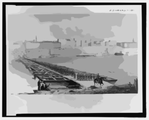 The 21st Reg T Wisconsin Vol., Crossing The Pontoon Bridge, At Cincinnati, Saturday, Sept. 13, 1862  / Sketched By A.e. Mathews, 31st Reg T. O.v. Clip Art