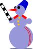 Snowman Traffic Cop  Clip Art