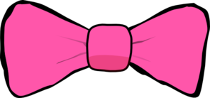 Pink Bow With Black Trim Clip Art