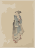 [a Woman Walking To The Right, Full-length Portrait, Facing Left, Wearing Kimono And Geta] Clip Art