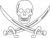 Pirate Skulls and Swords Clip Art