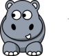 Hippo Looking Left Clip Art