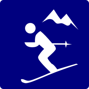 Skier Mountain Blue Clip Art