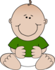 Sitting Baby Green Shirt Clip Art