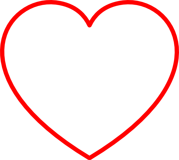 Red Heart Outline Clip Art At Clker
