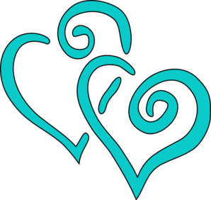 Teal Intertwined Hearts Clip Art