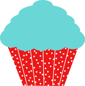 Robin Egg Blue And Red Polkadot Cupcake Clip Art