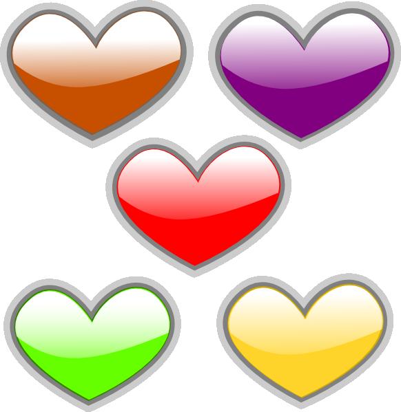Hearts-multi-colored-glossy Clip Art at Clker.com - vector clip art ...