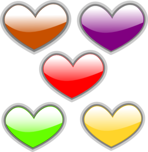 Hearts-multi-colored-glossy Clip Art