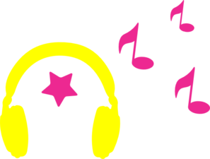 Headphones With Musical Notes Clip Art