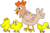 Hen With Three Chicks Clip Art