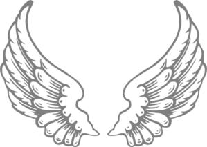 Gray Angle Wings Clip Art