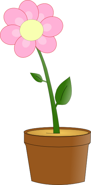 Pink flower in pot clip art at clker vector clip art online download this image as mightylinksfo