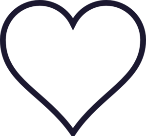 Navy Outline Heart Clip Art