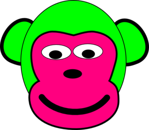 Green And Pink Monkey Clip Art